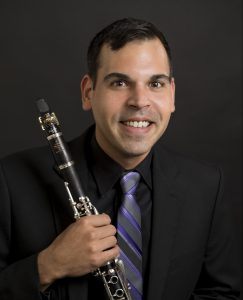 Christopher Nichols, Music Department with his clarinet.