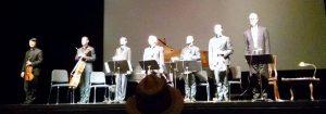 From Left to Right: Daniel Ching (violin), Joshua Gindele (cello), Yevgeny Yontov (piano), David Shifrin (clarinet), John Largess (viola), William Fedkenheuer (violin), Jack Gilpin (actor)