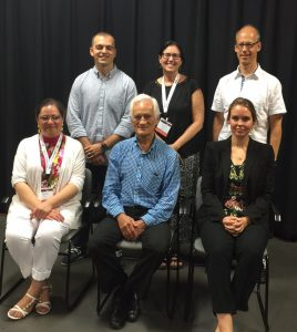 Back row: judges Wesley Ferreira, Margaret Donaghue Flavin and Gregory Barrett. Front row: winners Yasmin Flores, Ron Odrich and Anna Roach