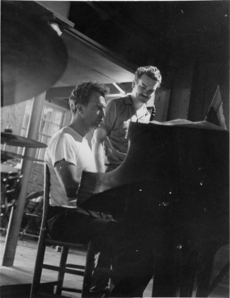Dave Brubeck and Bill Smith in 1959, preparing to record The Riddle at Tanglewood