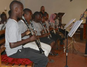 New clarinet students performing in concert