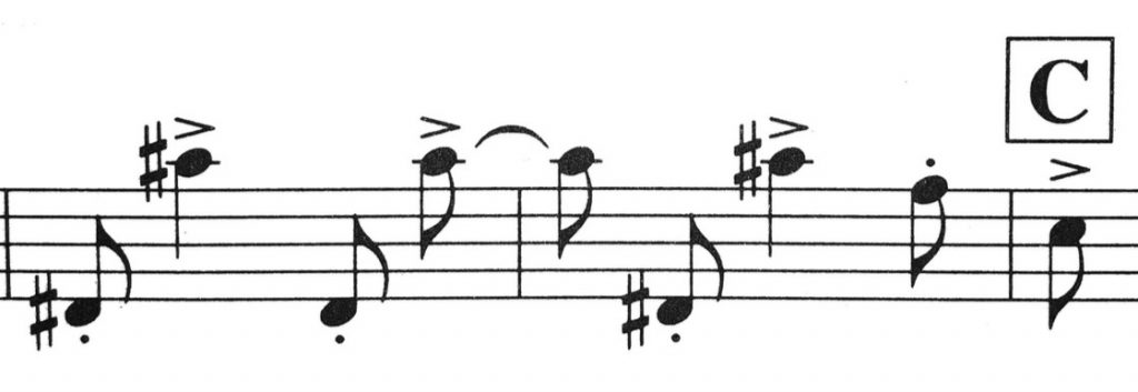 Example 3: Bernstein Sonata, Mvt. 2, two bars before C