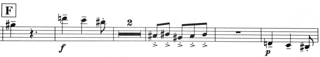 Example 4: Bernstein Sonata, Mvt. 2, first seven bars of F
