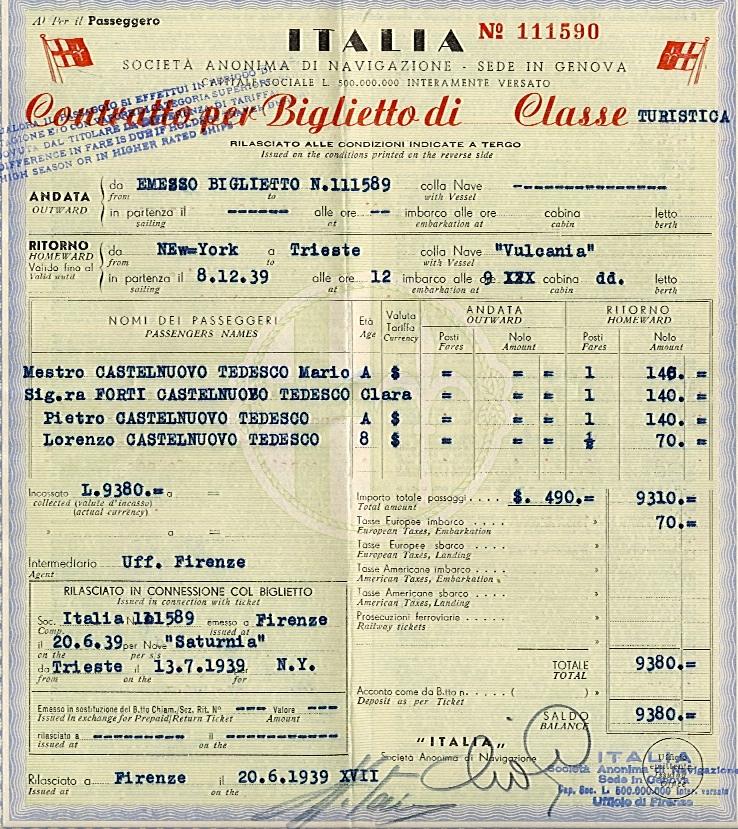 Mario Castelnuovo-Tedesco's round-trip ticket to the U.S., which allowed him to leave Italy in 1939 Credit: Photo courtesy of the Mario Castelnuovo-Tedesco Collection at the Library of Congress, Washington, D.C.