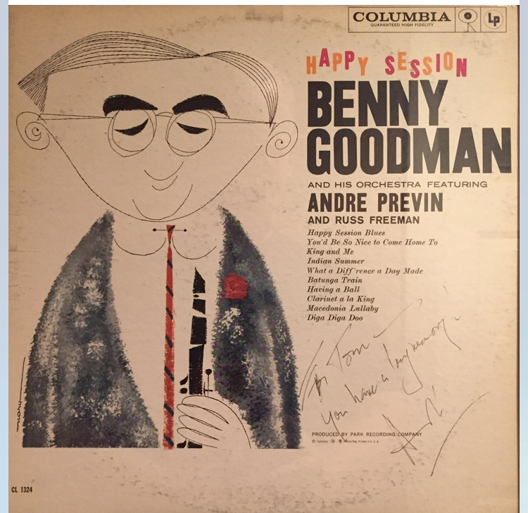 Cover of Benny Goodman's Happy Session, inscribed to Tom Martin from André Previn