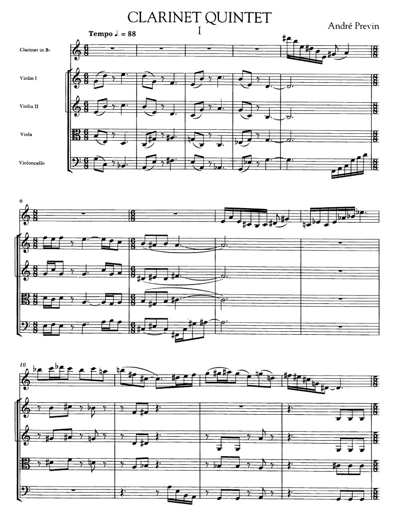 Clarinet Quintet by André Previn, mm 1-13 ©2011 by G. Schirmer, Inc. All Rights Reserved. International Copyright Secured. Used by Permission.