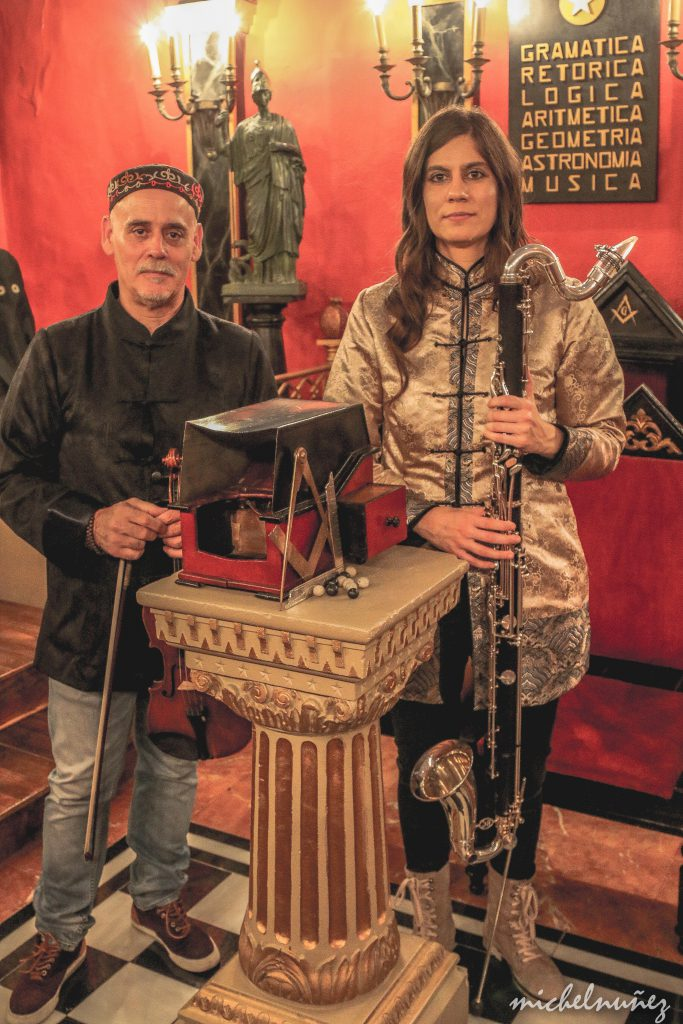 The Formica's Age Duo during a video recording at a recreation of a Masonic Lodge in Salamanca, Spain
