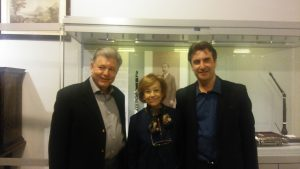 Figure 8: April 19, 2017. Act of donation of Manuel Gómez's clarinet to the Museum of the Madrid Conservatory. From left to right: Harold M. Gomez (Manuel Gómez's grandson), Ana Guijarro (Principal of the Conservatory) and the author.