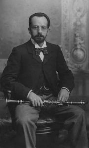 Figure 4. Francisco Gómez sitting with his clarinet, c. 1895. Wardale family archive, U.K.