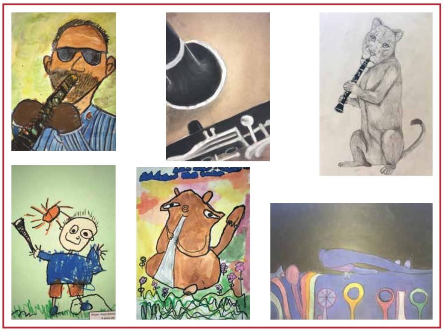 Student artwork from the International Clarinet Extravaganza art competition